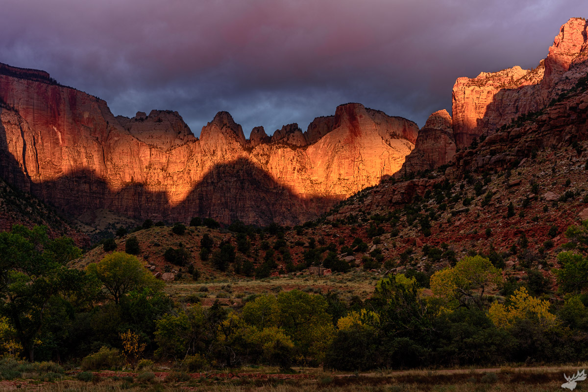 american west, Temple, sunrise, fall, mountains